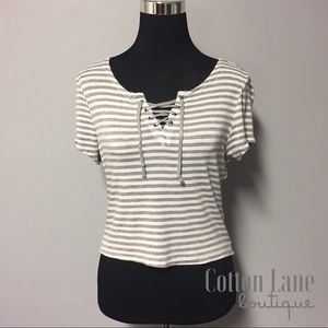 Lace-Up Striped Crop Top